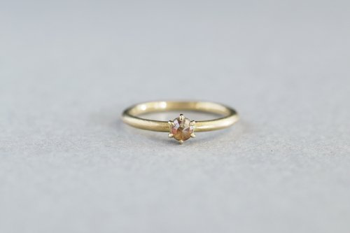 Norme rosecut ring +fancy color diamond ( orange )