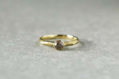 Rough cut +cognac diamond ring / bezel setting / K18