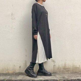 【winter】サイドプリーツニットワンピース(レディースFREE size)