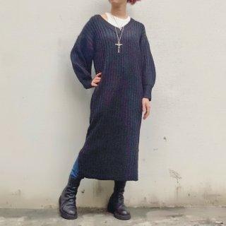 【winter】Vネックニットワンピース(レディースFREE size)