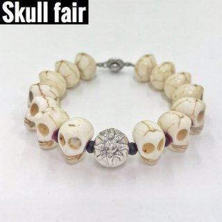 【Skull fair】スカルストーンブレス ホワイト【7個限定】