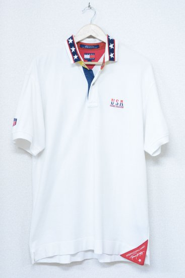 TOMMY HILFIGER 90's Vintage アメリカンフラッグ ポロシャツ (メンズ古着)
