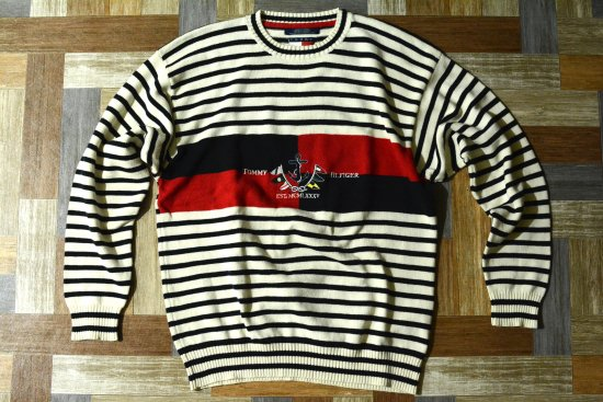 <img class='new_mark_img1' src='https://img.shop-pro.jp/img/new/icons6.gif' style='border:none;display:inline;margin:0px;padding:0px;width:auto;' />90's Vintage TOMMY HILFIGER ロゴ刺繍 ボーダー コットン ニット セーター (メンズ古着)