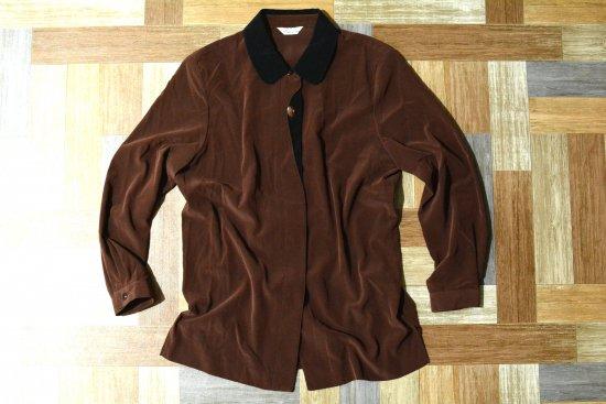 Vintage バイカラー ベロア ブラウス ブラウン × ブラック (レディース古着)