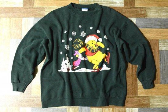 90's Vintage Disney くまのプーさん プリント スウェット モスグリーン (メンズ古着)