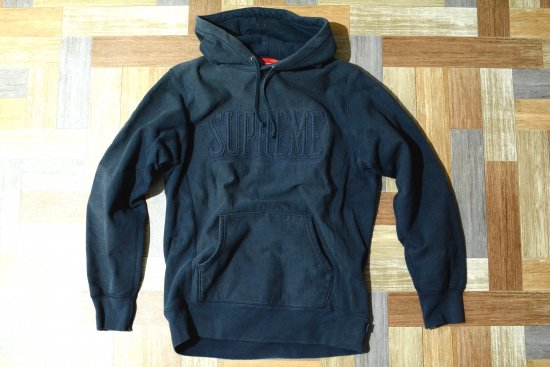 Supreme Embroidered Outline Hooded Sweatshirt Navy (メンズ古着)