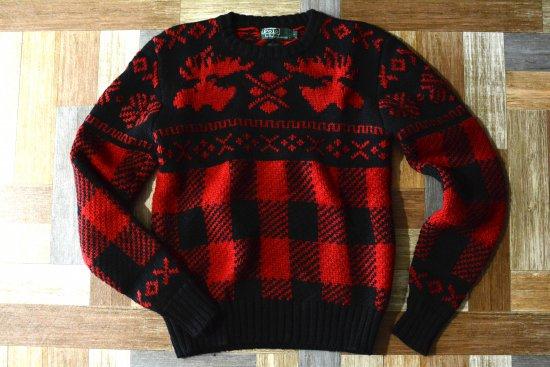 80's Vintage POLO RALPH LAUREN ノルディック柄 ウール ニット セーター ブラック×レッド (メンズ古着)