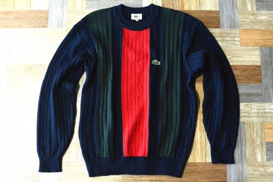 90's Vintage LACOSTE ライン ニット セーター (メンズ古着)