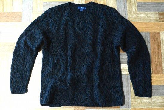 90's Vintage J.CREW ケーブル ニット セーター ネイビー (メンズ古着)