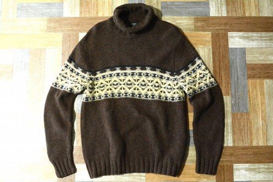 90's Vintage J.CREW ハンドニット タートルネック セーター ブラウン (メンズ古着)