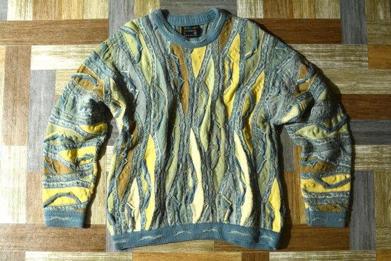 90's Vintage COOGI 立体編み ウール ニット セーター ライトブルー (メンズ古着)