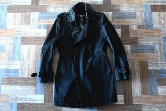 BURBERRY BLACK LABEL 中綿 ライナー付き ミドル丈 トレンチ コート ブラック (メンズ古着)