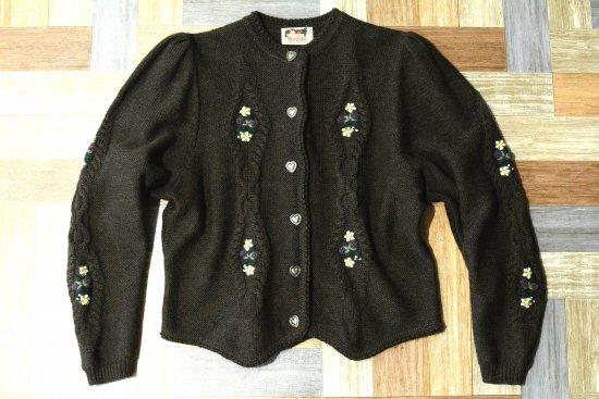 Vintage Asfrifa 西ドイツ製 ウール ニット カーディガン ブラウン (レディース古着)