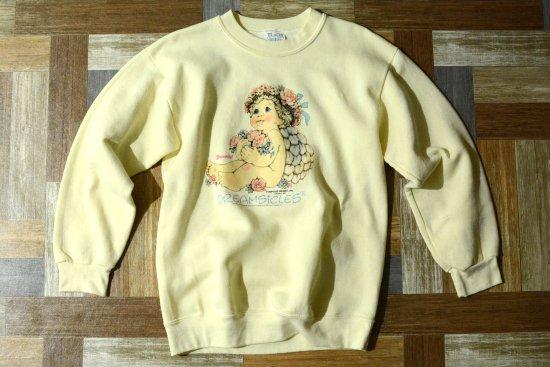 90's Vintage ACTIVE WEAR USA製 天使ちゃん スウェット クリーム (レディース古着)