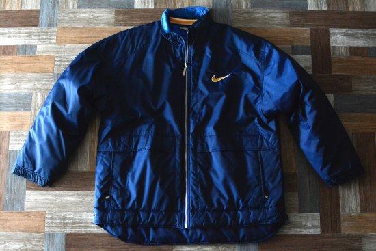 90's Vintage NIKE ビッグスウッシュ 中綿 ナイロン ジャケット ネイビー (メンズ古着)