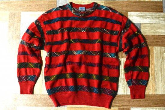 90's Vintage KENZO チェックライン ウール ニット セーター レッド (メンズ古着)