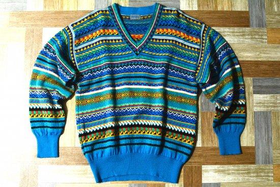 90's Vintage KENZO 総柄 チルデン ニット セーター ターコイズブルー (メンズ古着)