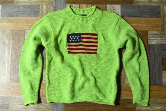 RALPH LAUREN 星条旗 モックネック コットン ニット セーター 150サイズ (キッズ古着)