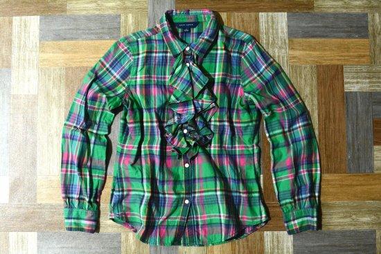 RALPH LAUREN フリル チェック ネルシャツ 150サイズ (キッズ古着)