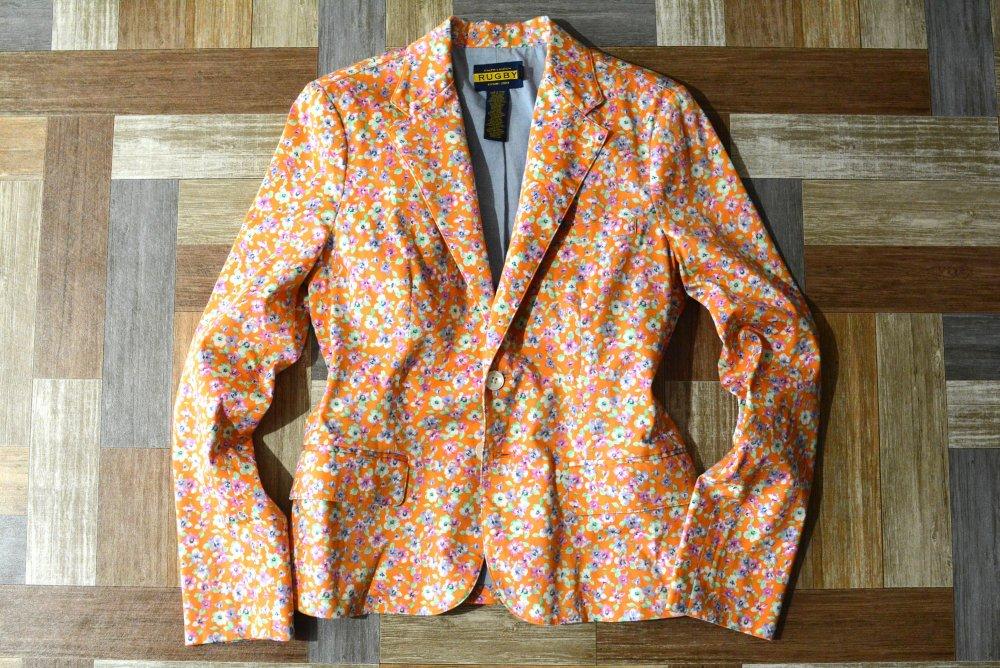 RUGBY RALPH LAUREN 小花柄 2B テーラード ジャケット オレンジ (レディース古着)