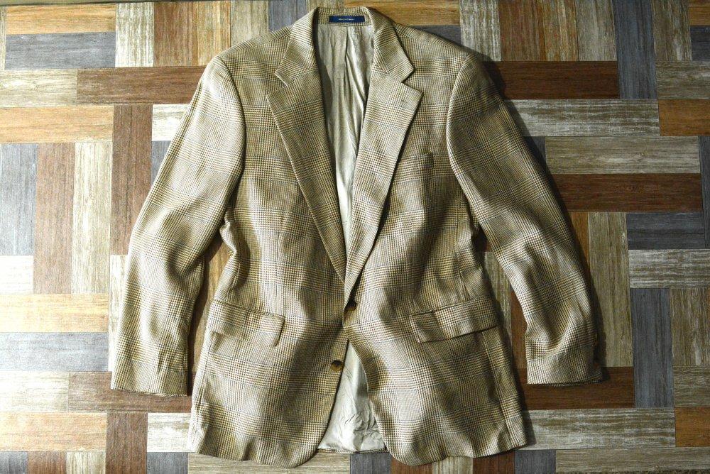 80's Vintage Polo University by RALPH LAUREN カナダ製 シルク × ウール 2B テーラード ジャケット ブラウン×ベージュ (メンズ古着)
