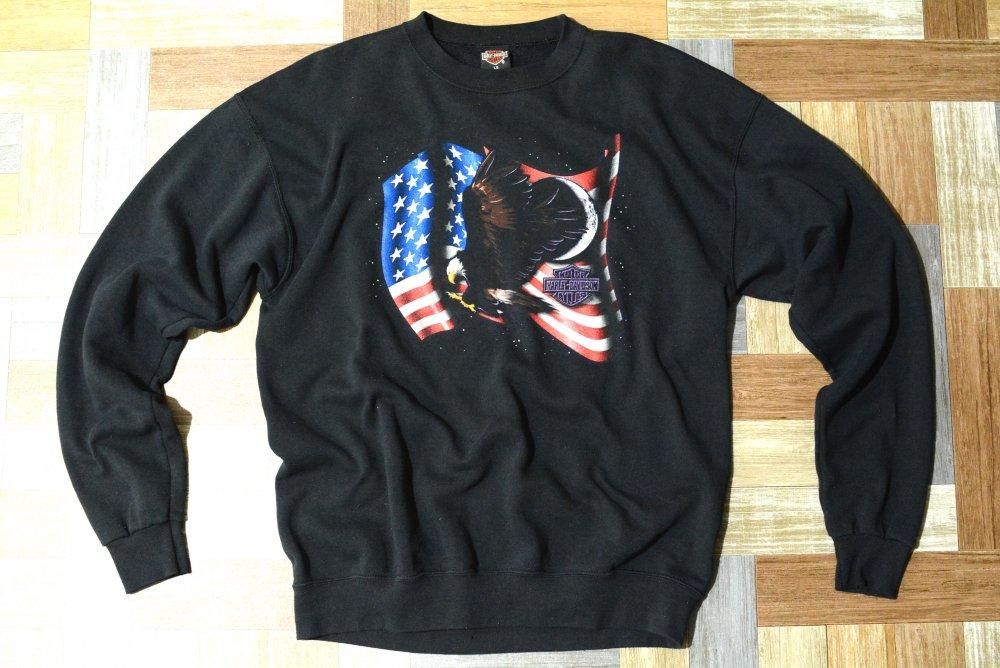 90's Vintage HARLEY DAVIDSON USA製 イーグル&フラッグ スウェット ブラック (メンズ古着)