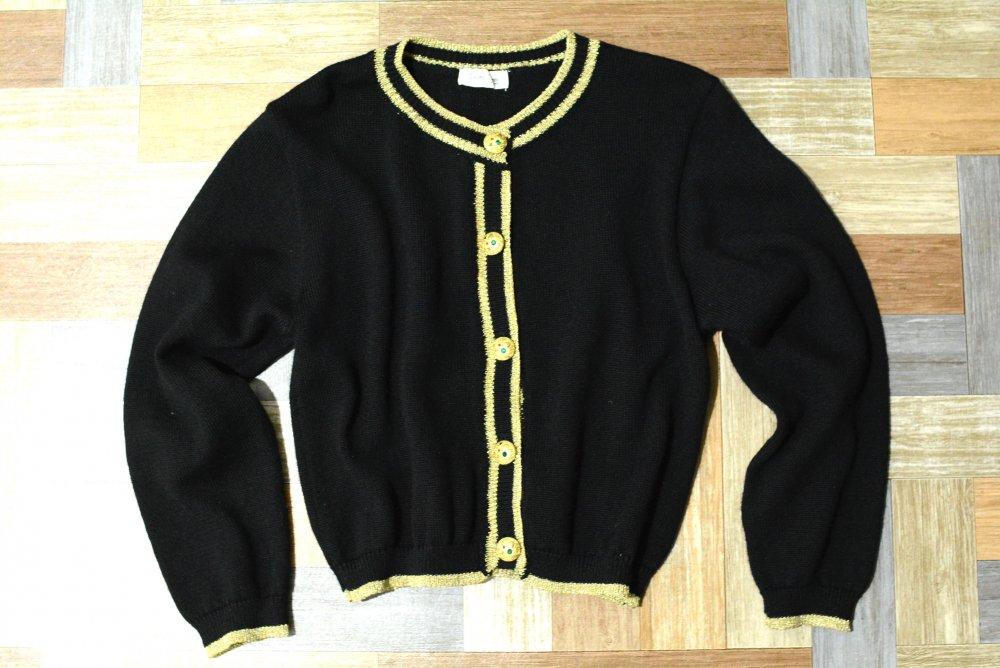 Vintage デコレーションボタン ウール ニット カーディガン ブラック (レディース古着)