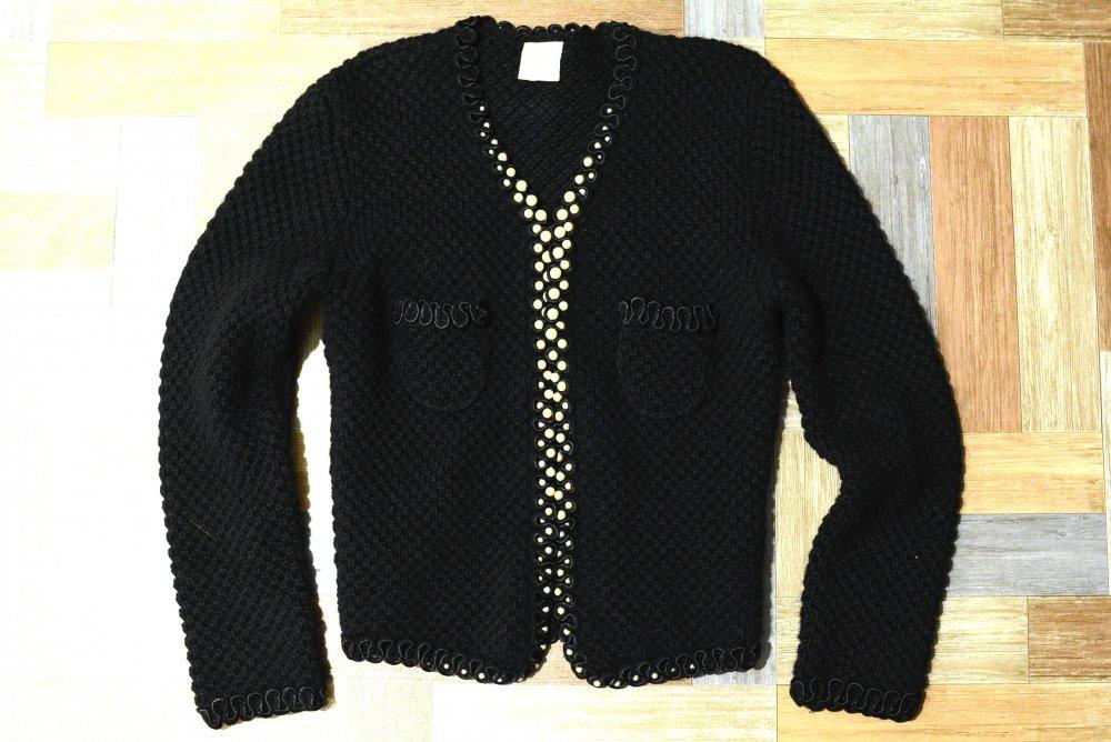 Vintage パール付き ノーカラー ニット ジャケット ブラック (レディース古着)