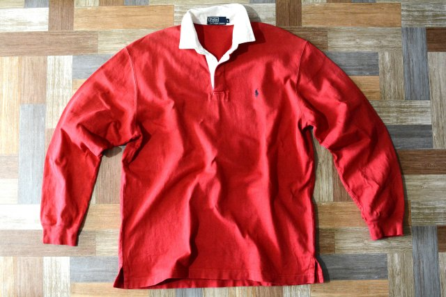 <img class='new_mark_img1' src='https://img.shop-pro.jp/img/new/icons6.gif' style='border:none;display:inline;margin:0px;padding:0px;width:auto;' />90's Vintage POLO RALPH LAUREN ラガーシャツ レッド (メンズ古着)