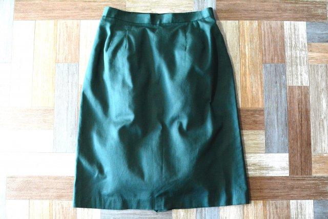 Vintage ツータック スカート モスグリーン (レディース古着)