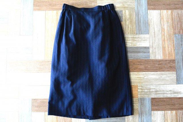 Vintage ツータック ストライプ スカート ネイビー (レディース古着)