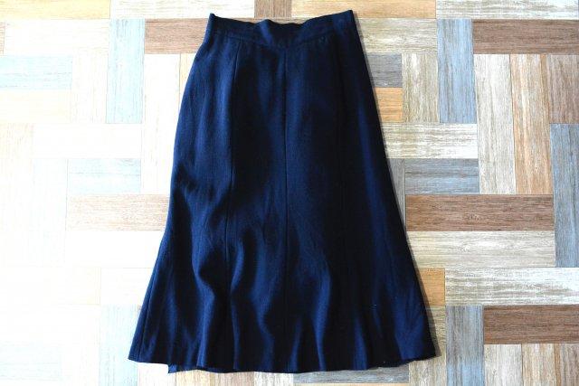 Vintage jun asida Aライン ロングスカート ネイビー (レディース古着)