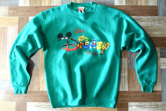 90's Vintage MICKEY,INC USA製 ディズニーワールド ロゴ スウェット エメラルドグリーン (メンズ古着)