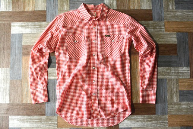 90's Vintage Wrangler ギンガムチェック ウェスタン シャツ レッド×ホワイト (メンズ古着)