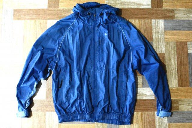 90's Vintage NIKE ナイロン パーカー ネイビー×ライトブルー (メンズ古着)