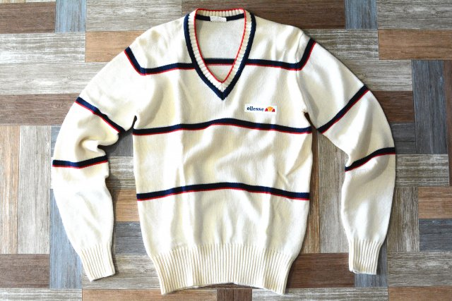 90's Vintage ellesse Vネック ウール カレッジ ニット セーター (レディース古着)