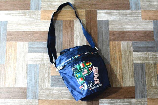 90's Vintage FILA SPORT 巾着型 ショルダーバッグ ネイビー (USED&VINTAGE)