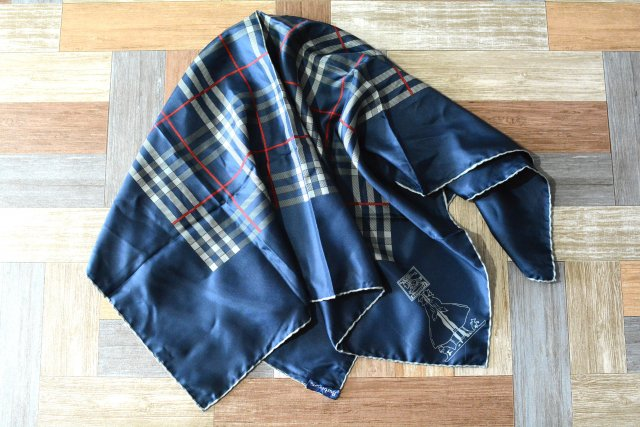 90's Vintage Burberrys イタリア製 ノバチェック シルク スカーフ ネイビー (USED&VINTAGE)