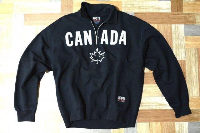 90's Vintage ROOTS カナダ製 襟付き ハーフジップ スウェット ネイビー (メンズ古着)