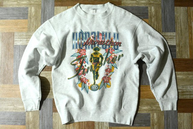90's Vintage NIKE USA製 ホノルルマラソン フィニッシャー スウェット オートミール (メンズ古着)