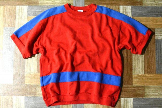 90's Vintage PRO SPIRIT USA製 半袖 スウェット レッド×ブルー (メンズ古着)