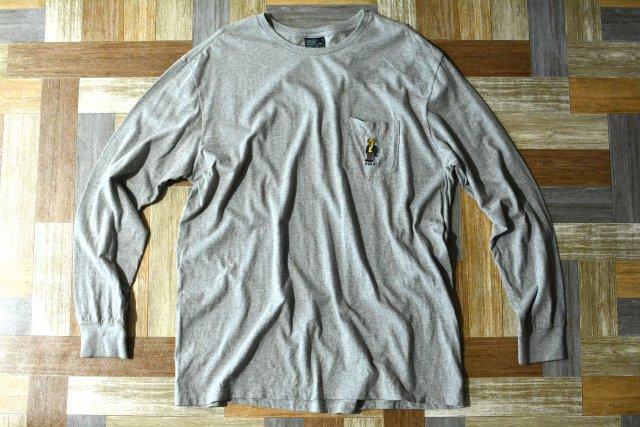 90's Vintage POLO RALPH LAUREN ポロベアー ポケット付き 長袖 Tシャツ 杢グレー (メンズ古着)