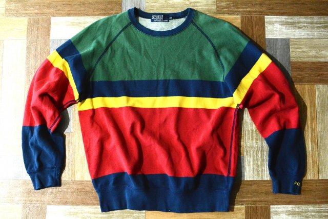90's Vintage POLO RALPH LAUREN 鹿の子 スウェット マルチカラー (メンズ古着)