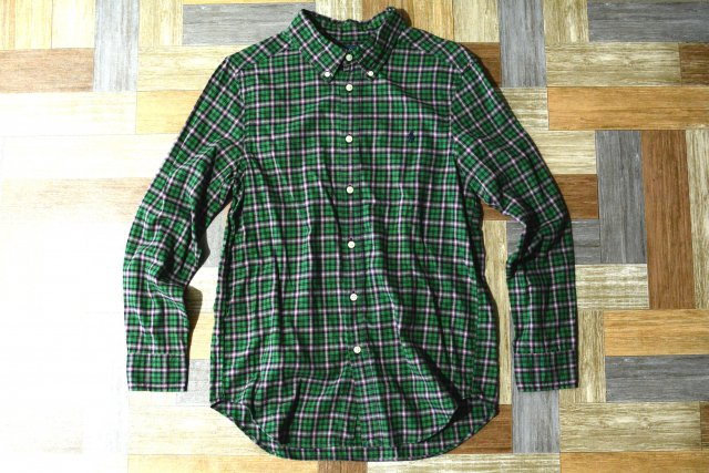 RALPH LAUREN BD チェック ネルシャツ グリーン 160サイズ (キッズ古着)