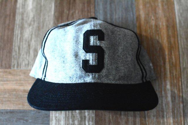 STUSSY × EBBETS FIELD ビッグロゴ ツートーン ベースボール キャップ 杢グレー×ブラック (USED&VINTAGE)