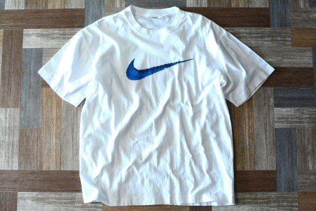 90's Vintage NIKE ビッグスウッシュ Tシャツ ホワイト×ブルー (メンズ古着)