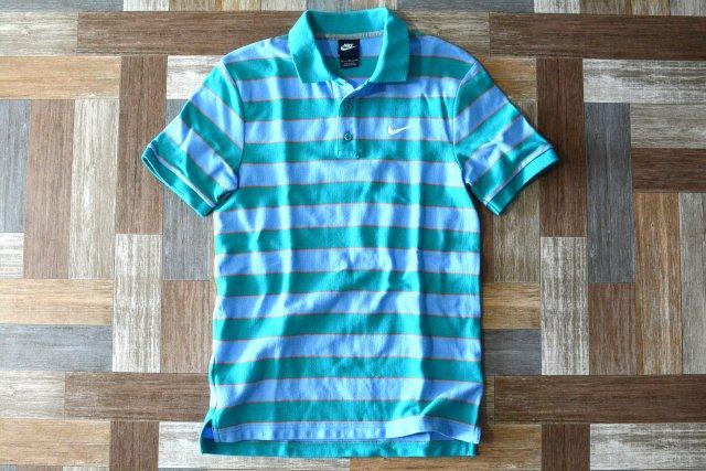 90's Vintage NIKE ロゴ 刺繍 ボーダー ポロシャツ エメラルドグリーン×ライトブルー (メンズ古着)