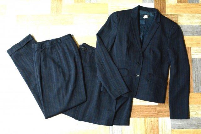 90's Vintage J.CREW ストライプ スーツ ネイビー 3ピースセット (レディース古着)