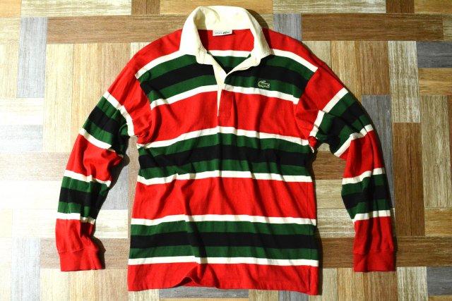 80's Vintage CHEMISE LACOSTE フランス製 ボーダー ラガーシャツ (メンズ古着)