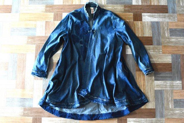 Vintage デニム Aライン チャイナ コート (レディース古着)